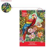 Альбом для рисования на спирали ArtBerry® Попугай, А4, 20 листов, микроперфорация, спираль по узкой стороне