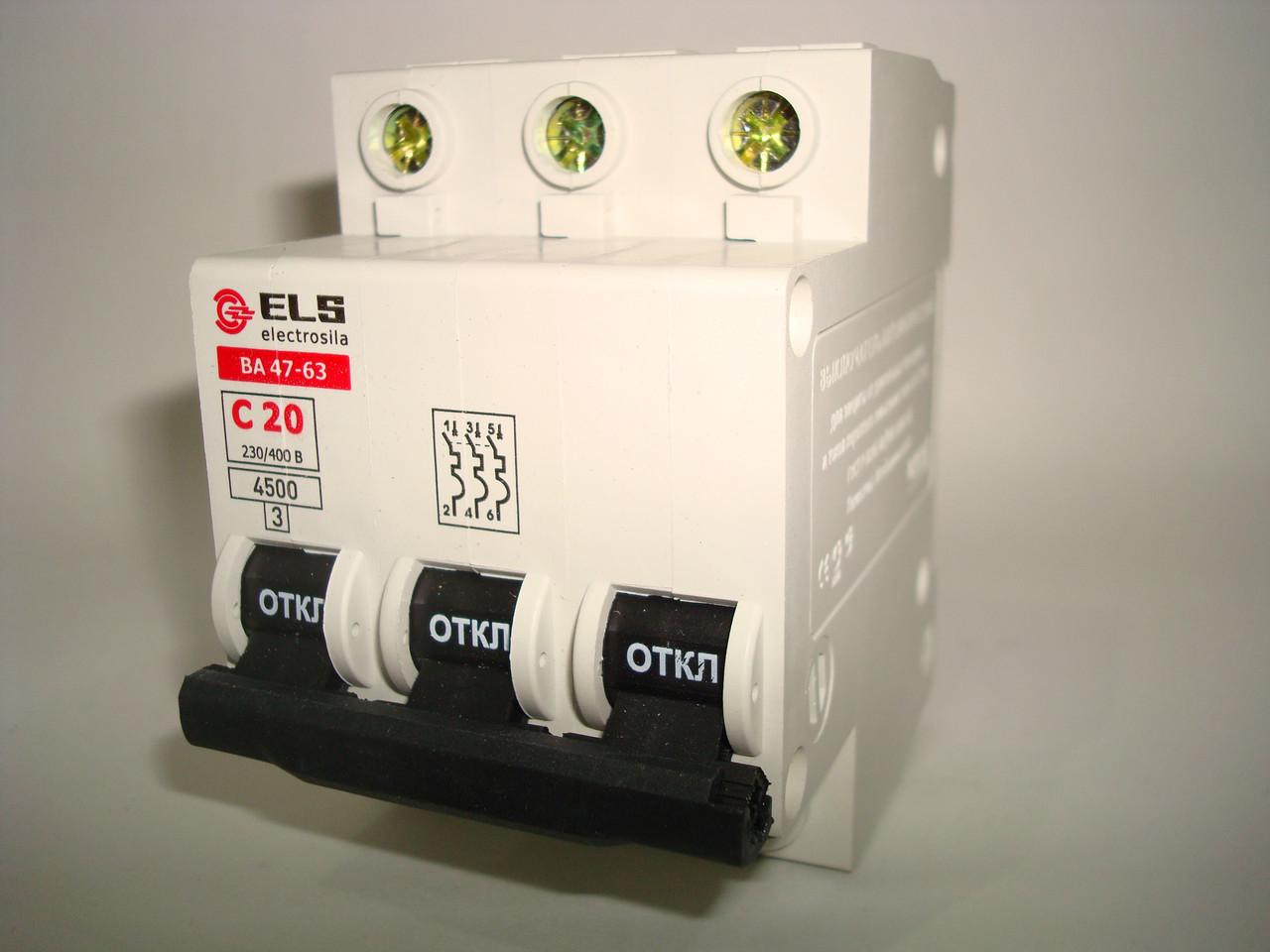 Автоматический выключатель 3Р 20А ВА 47-63 (С) ELS