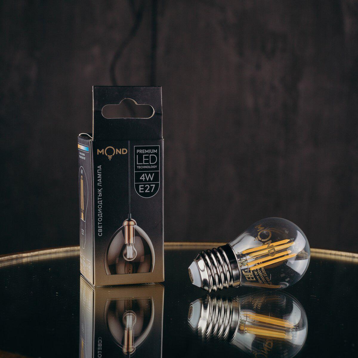 LED Лампа Filament 4W G45 4000K E27 MOND