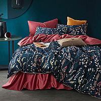 Комплект постельного белья двуспальный сатин LUX с цветочным принтом