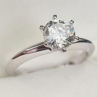 Золотое кольцо с бриллиантом 1.01Сt SI2/L EX-Cut, фото 1