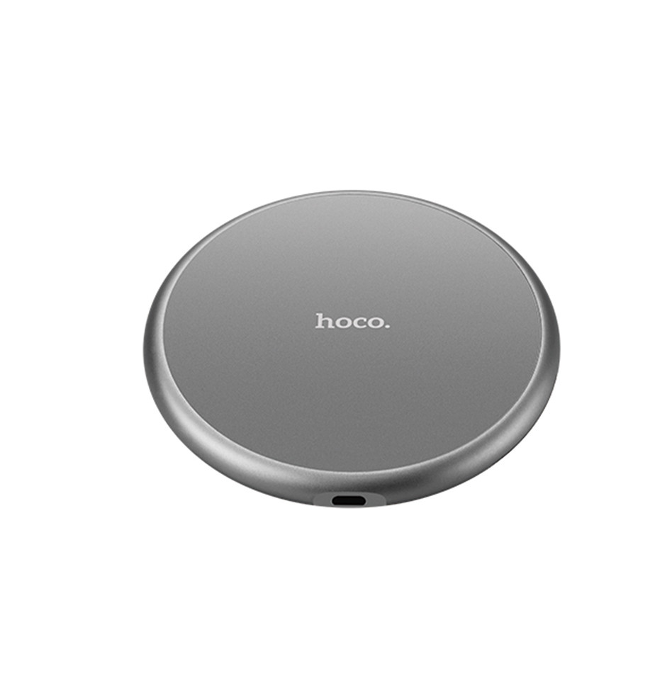 Беспроводное зарядное устройство Hoco CW3A Round Wireless Charger Fast Transmission Metal Gray