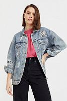 Джинсовая куртка с вышивкой Finn Flare, цвет голубой, размер XL