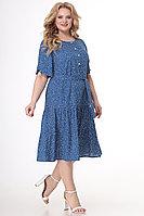 Женское летнее хлопковое синее большого размера платье Algranda by Новелла Шарм А3731 58р.
