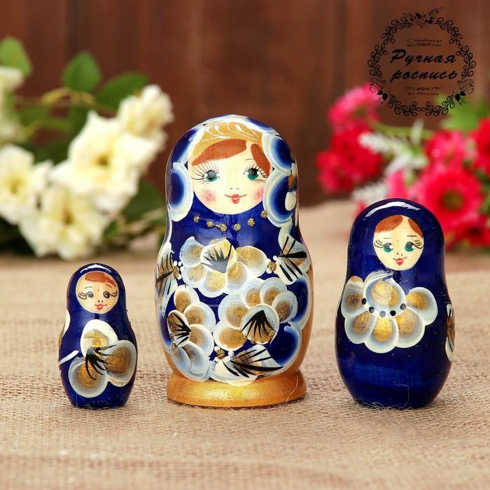 Матрёшка «Марина», синее платье, 3 кукольная. 10 см