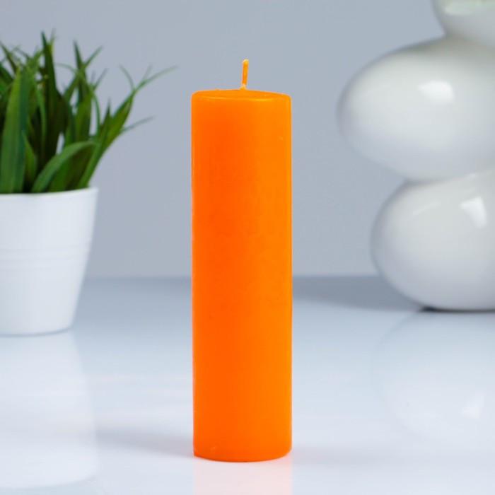 Свеча- цилиндр, парафиновая, оранжевая, 4×15 см