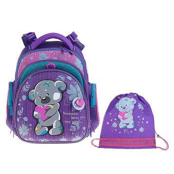 Рюкзак каркасный Hummingbird TK 37 х 32 х 18 см, мешок, для девочки, «Мишка», сиреневый