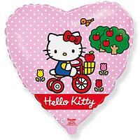 """Шар фольгированный 18"""" Hello Kitty «Котёнок на велосипеде», сердце, цвет розовый, 1 шт. в упаковке"""