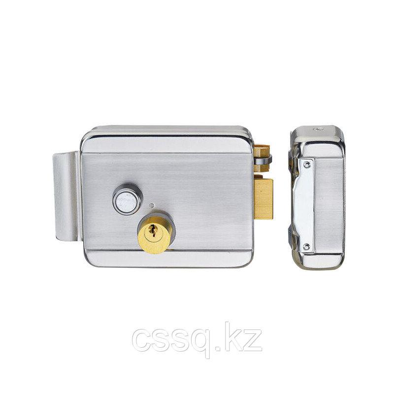 IHold-204 Электромеханический замок, накладной, с блокировкой кнопки, никелированная сталь