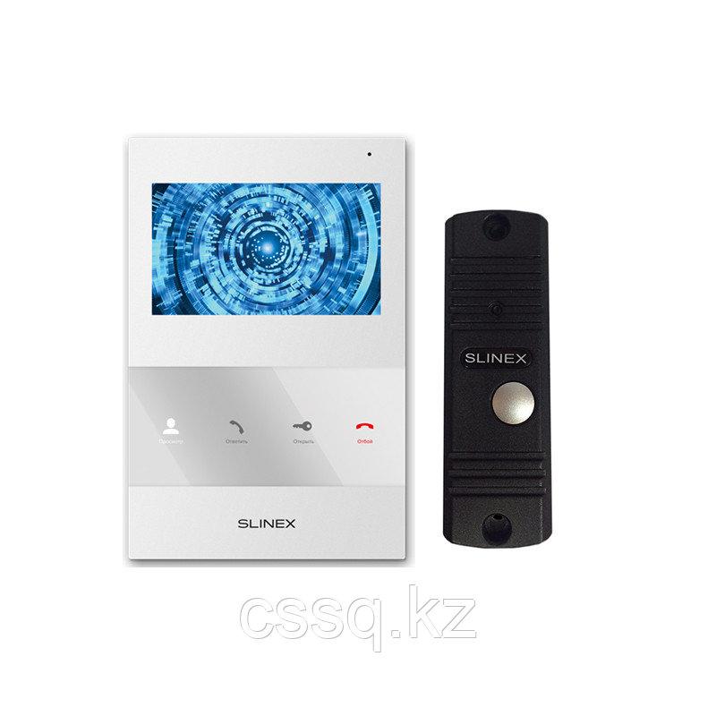 """Slinex KIT SQ-04 цвет белый + ML-16HR цвет черный. Комплект домофона 4"""" + панель вызова."""
