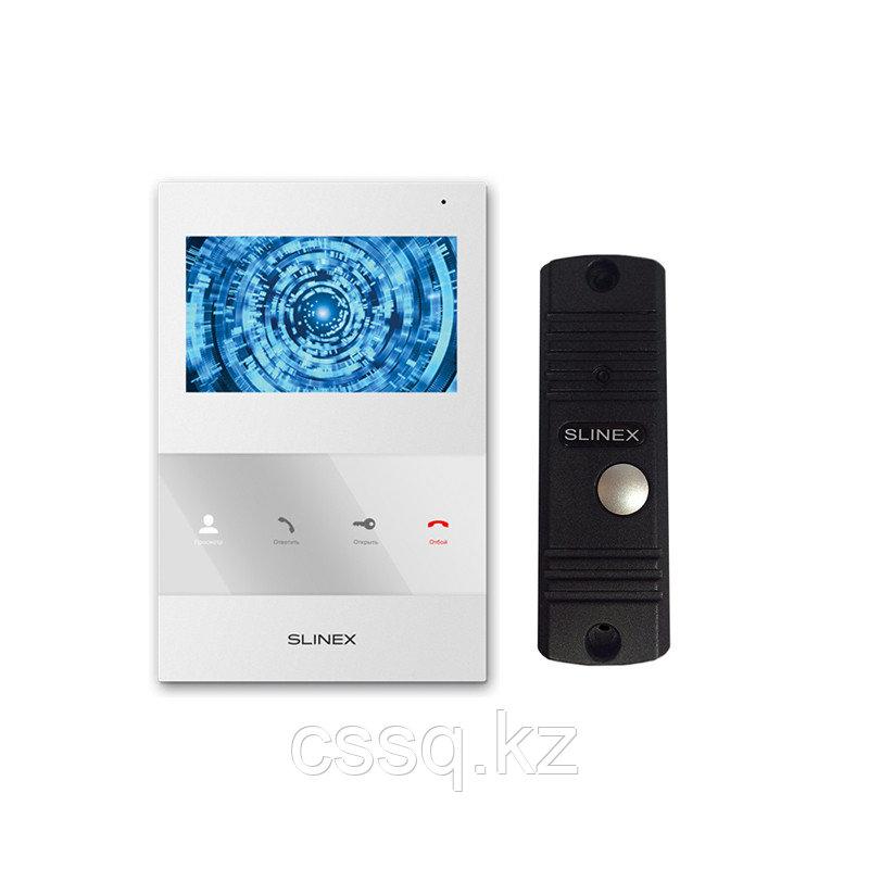 """Slinex KIT SQ-04M цвет белый + ML-16HR цвет черный. Комплект домофона 4"""" + панель вызова."""
