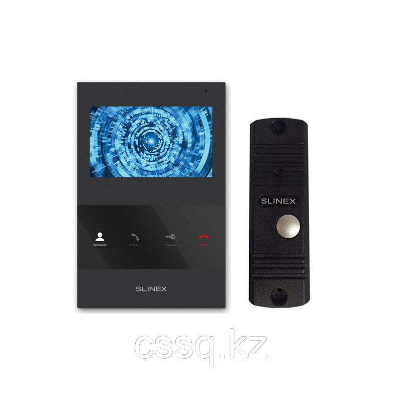 """Slinex KIT SQ-04M цвет черный + ML-16HR цвет черный. Комплект домофона 4"""" + панель вызова."""