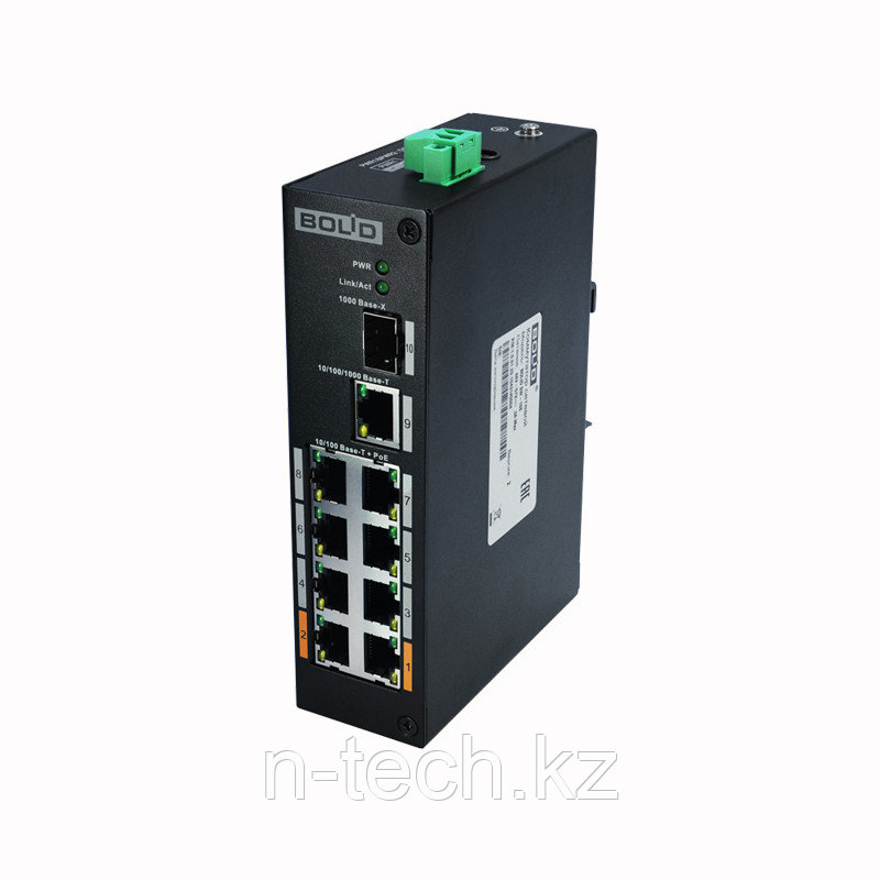 SW-108 Сетевой коммутатор 1 порт 1000 Base-X, 1 порт 10/100/1000 Base-T, 8 портов 10/100 Base-T(PoE)