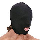 Маска-капюшон Lux Fetish, глухая с отверстием для рта (черная), фото 3