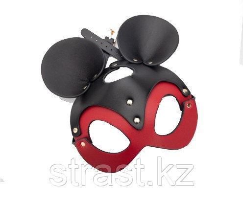 Кожаная черно-красная маска Мышки