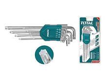 Набор ключей имбусовых HEX 1.5-10мм, экстра удлиненные TOTAL арт.THT106192