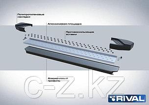 """Порог-площадка """"Bmw-Style"""" + комплект крепежа, RIVAL, Hyundai Santa Fe 2012-2018, фото 3"""