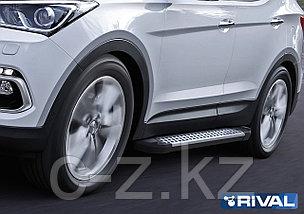 """Порог-площадка """"Bmw-Style"""" + комплект крепежа, RIVAL, Hyundai Santa Fe 2012-2018, фото 2"""