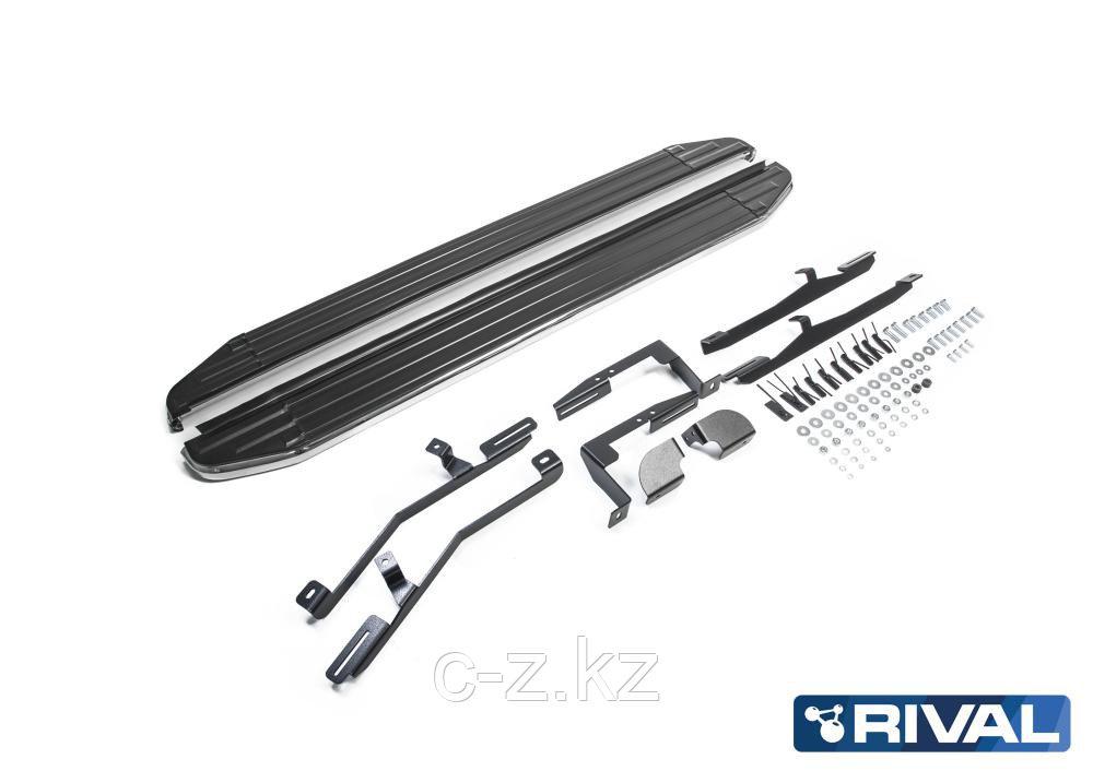 "Порог-площадка ""Premium"" + комплект крепежа, RIVAL, Hyundai Santa Fe 2012-2018"