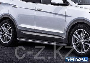 "Порог-площадка ""Premium"" + комплект крепежа, RIVAL, Hyundai Santa Fe 2012-2018, фото 2"
