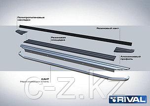 "Порог-площадка ""Premium"" + комплект крепежа, RIVAL, Hyundai Santa Fe 2012-2018, фото 3"