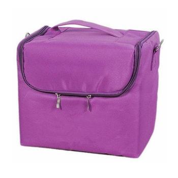 Бьюти-кейс тканевый ,с внутренними полками. Цвет-фиолетовый.