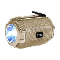Колонка беспроводная стерео bluetooth-спикер для смартфонов с фонарем Toremic TOC 77 золотистая