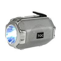 Колонка беспроводная стерео bluetooth-спикер для смартфонов с фонарем Toremic TOC 77 серебристая