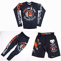 Рашгард Tiger Muay Thai 3 в 1  детский ( комплект верх + низ + шорты ) чёрный