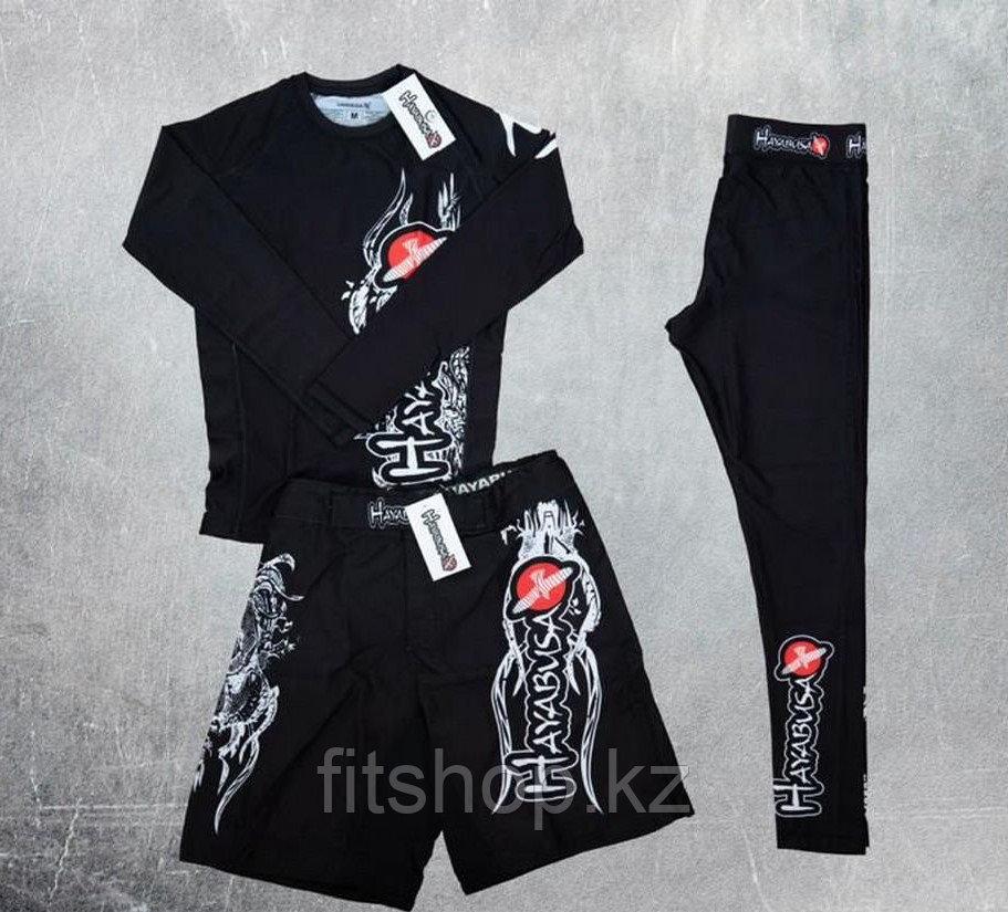 Рашгард  Hayabusa 3 в 1  детский ( комплект верх + низ + шорты ) чёрный