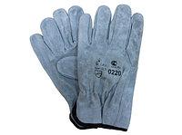 Перчатки спилковые пятипалые, арт. 0220, серые