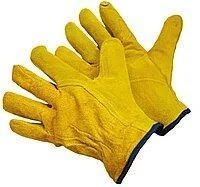 Перчатки спилковые пятипалые, арт. 0128, желтые