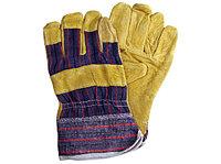 Перчатки комбинированные х/б со спилком, арт.0115, желтые