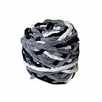 Велюровая пряжа для ручного вязания, толщиной 0,8 мм микс-черн,серый,белый