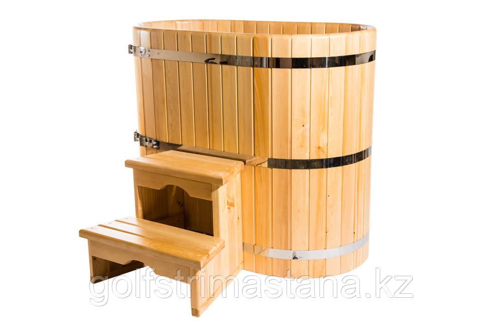 Купель кедровая, овальная, 100*120*200/4 см