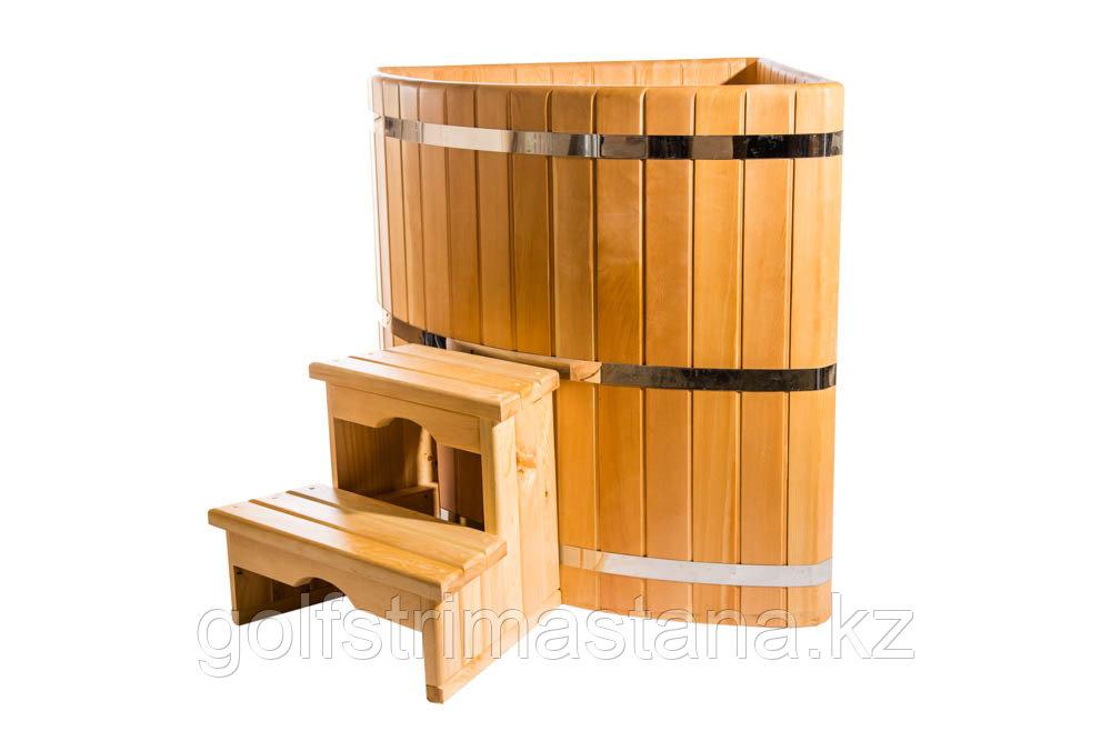 Купель кедровая, угловая, 120*130*130/4 см