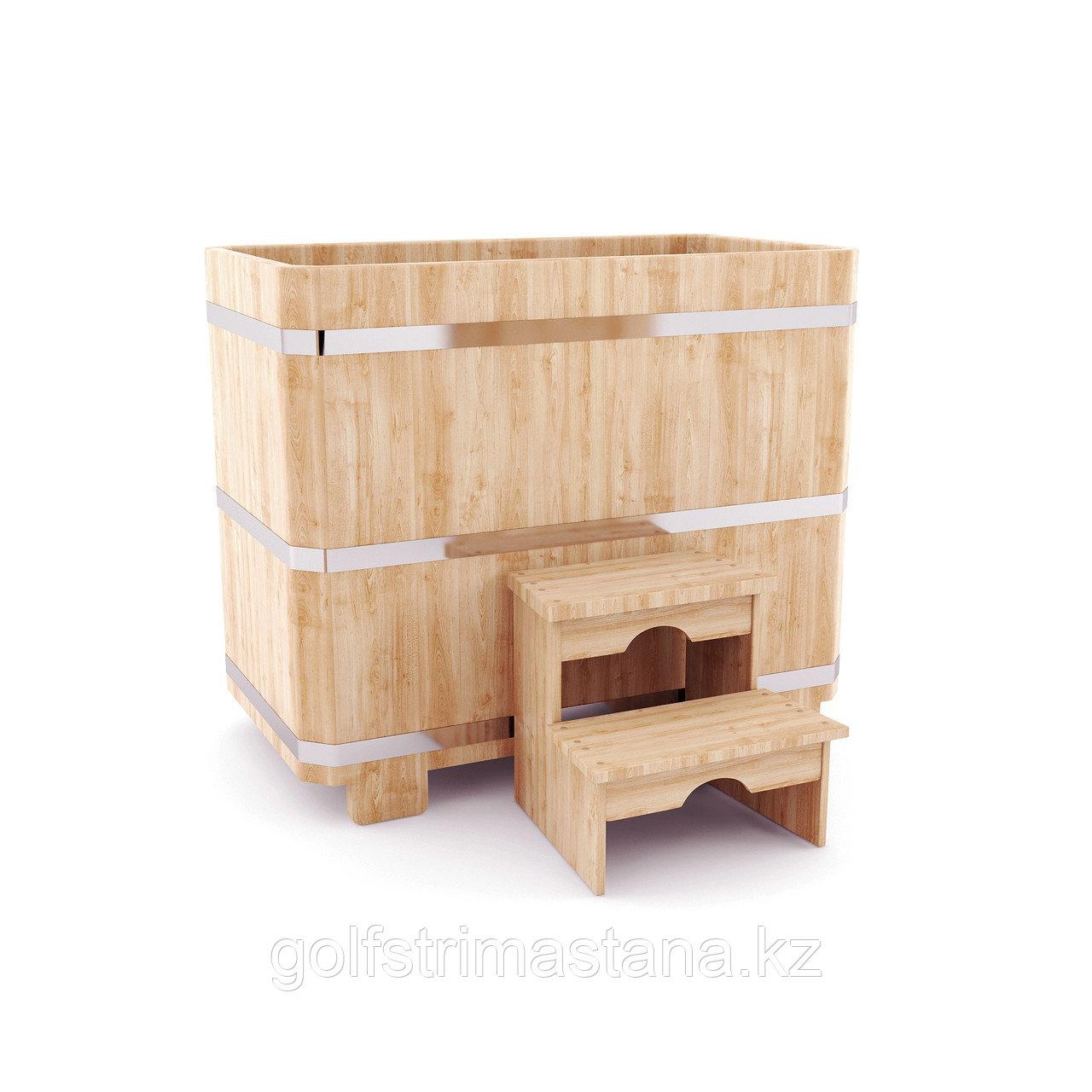 Купель кедровая, прямоугольная, 120*78*140/4 см