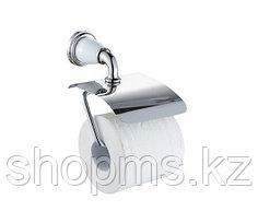 Держатель туалетной бумаги с крышкой Potato P7203  хром с белыми вставками под керамику