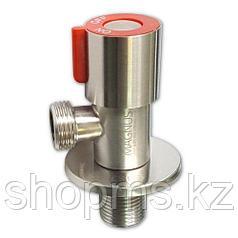 Кран металлокерамика угловой 1/2х1/2 красная ручка, из нерж. стали MAGNUS 9270