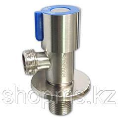 Кран металлокерамика угловой 1/2х1/2 синяя ручка, из нерж. стали MAGNUS 9269