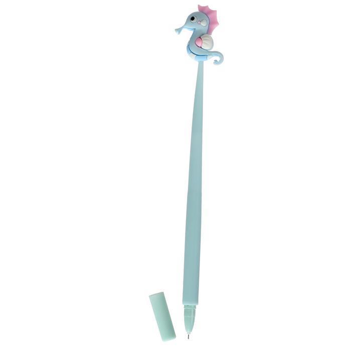 """Ручка гелевая-прикол """"Морской конек голубой с розовой гривой"""""""
