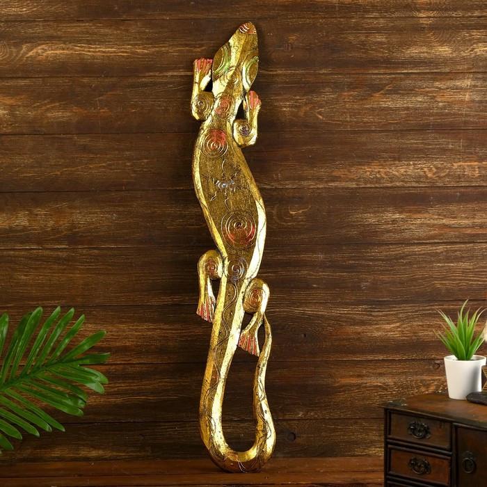"""Панно дерево """"Геккон"""" 80х15х1,5 см"""