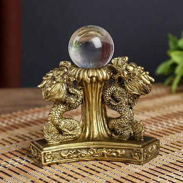 """Нэцке полистоун бронза """"Драконы со стеклянным шаром"""" 8х12х12 см"""