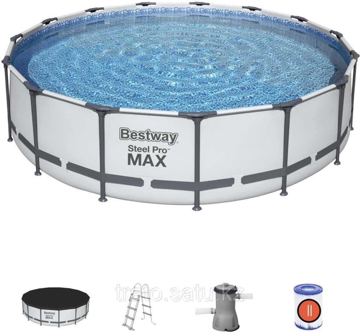 Каркасный бассейн Steel Pro MAX 457 х 107 см. Ф-насос 3028л/ч, Лестница, Тент