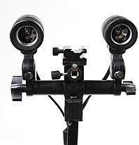 Двойной держатель-патрон Е27 для студийного света с площадкой холодный башмак, фото 2