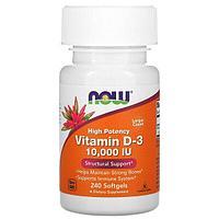 Now Foods, Витамин D-3 с высокой эффективностью, 10 000 МЕ, 240 мягких таблеток