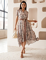 Платье из премиальной вискозы с асимметричной юбкой и поясом 46 размер