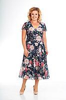 Женское летнее шифоновое большого размера платье Slaviaelit 428 букеты 50р.