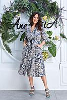 Женское летнее из вискозы синее большого размера платье Anastasia 618 синий 52р.