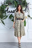 Женская летняя из вискозы зеленая платье и ремень Anastasia 618А олива 48р.